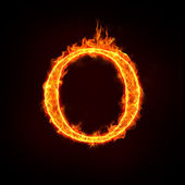 Fire alphabets, O — Stock Photo