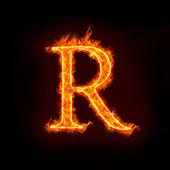 Fire alphabets, R — Stock Photo