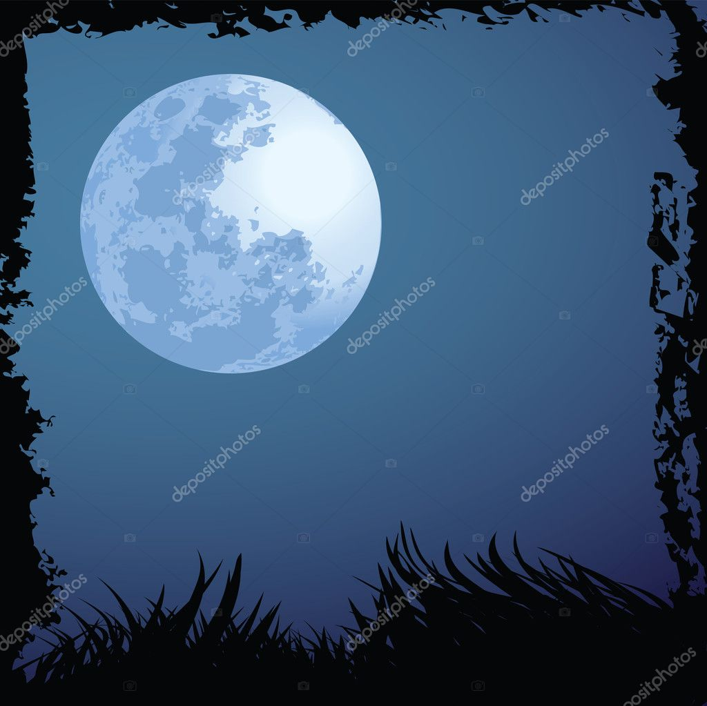 Illustrations of halloween night with blue moon — Stock Vector #8582496