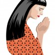 Stock Vector: praying woman