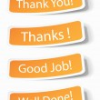 Stock Vector: Thank you notes as stickers