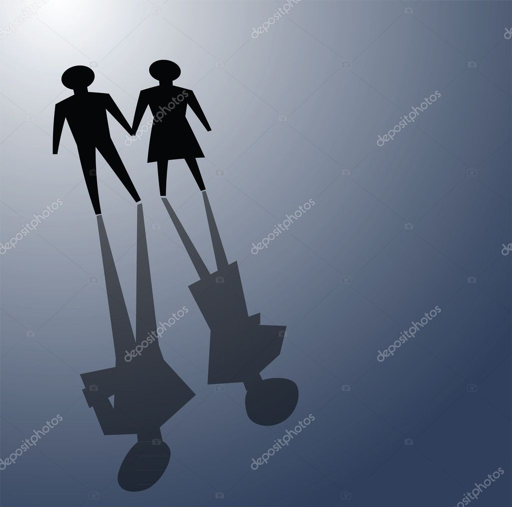Illustrations of broken relationship, couple shadow was ignoring each other. — Stock Vector #8606323