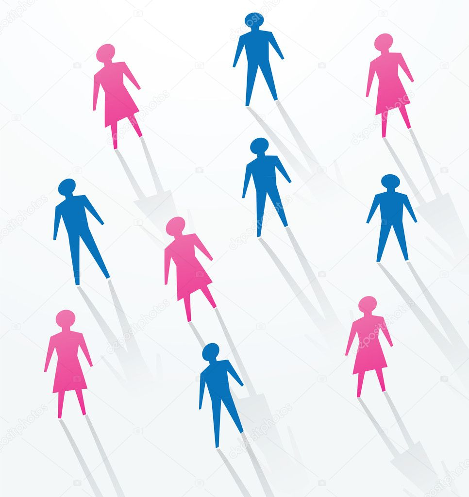 man and woman paper cutout sihouettes for social life in society vector by mtkang business life concepts