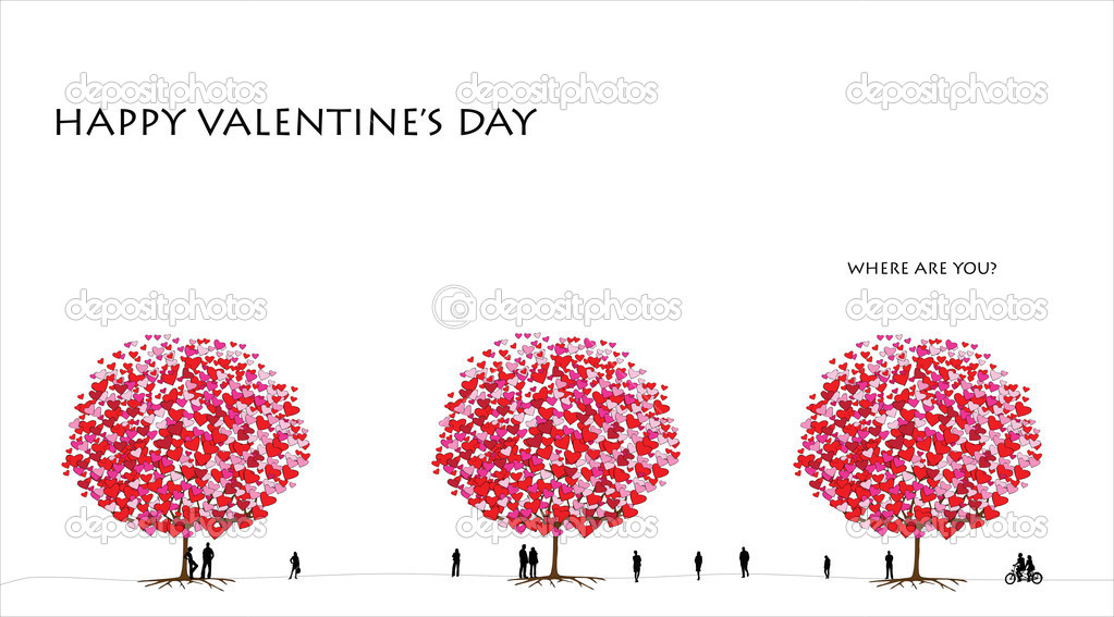 Love tree series, card design for valentine's day - 01 of 06 — Stock Vector #8606736