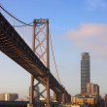Bay Bridge and San Francisco Cityscape — Stock Photo