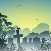 Misty Graveyard — Stock Vector