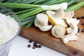 Mushrooms, onion and rice — Stock Photo
