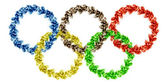 Five olympic rings of smoke — Stock Photo