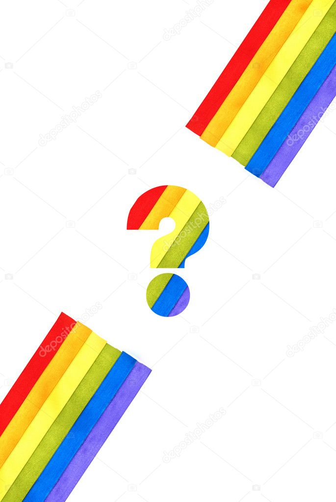 Rainbow flag background made of slim stripes with question mark  Stock Photo #9098557