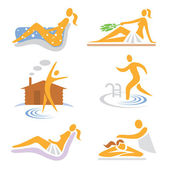 Wellness, sauna, spa, massage icons — Stock Vector