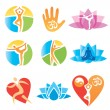 Icons_yoga_fitness — Vettoriale Stock
