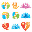 Icons_yoga_fitness — Stock vektor