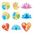 Icons_yoga_fitness — Stok Vektör