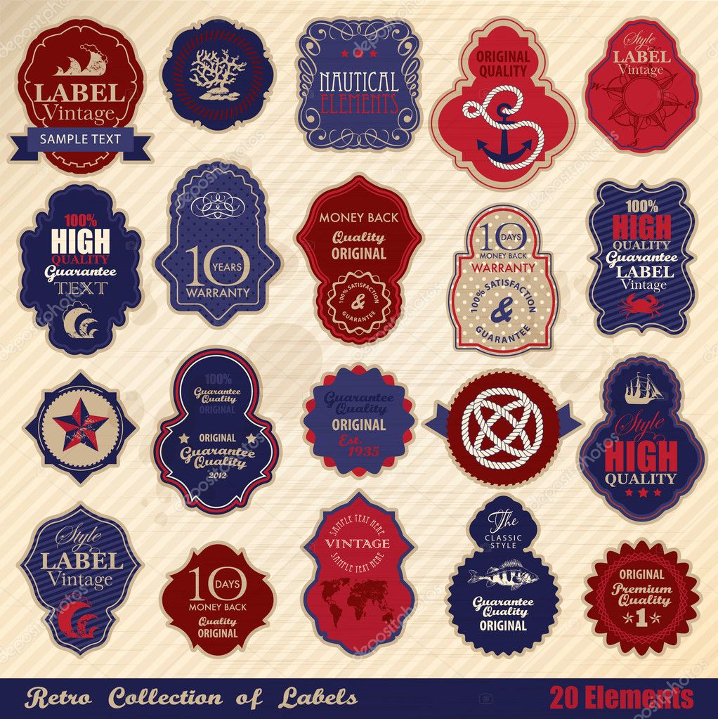 Nautical retro labels — Stock Vector #9984726