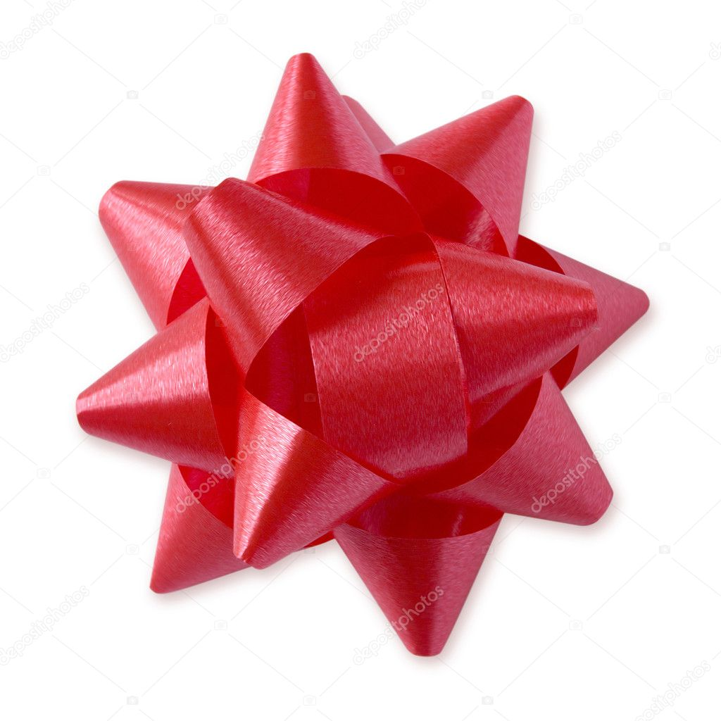 Red Festive Bow (with clipping path for easy background removing if needed) — Stock Photo #9447652