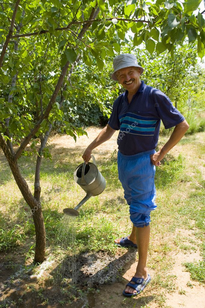 Smiling Man Watering His Orchard At Sunny Day — Stock Photo #9447769