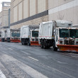 Snowplows waiting for blizzard — Stock Photo