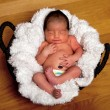 Cute baby asleep in basket — Stock Photo