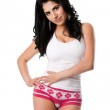 Young woman in white underwear — Stock Photo