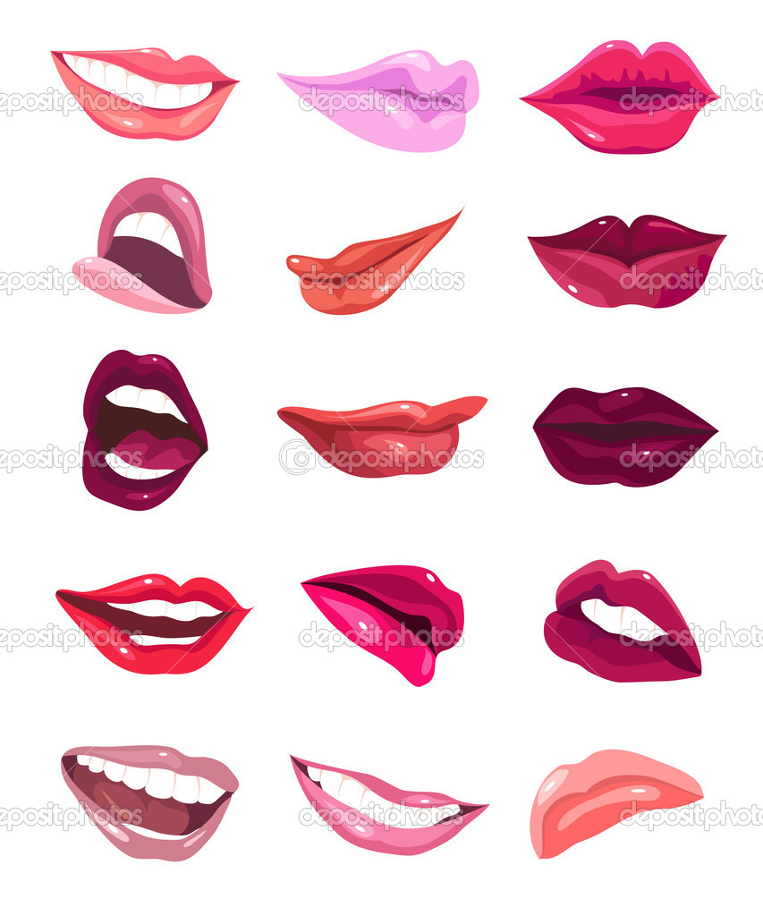 Set of 15 glamour lips, with different lipstick colors. — Stock Vector #10248455