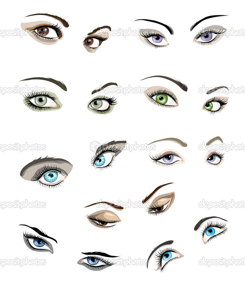 Set of 9 beautiful glamour womans eyes and eyebrows.  Stock Vector #10525579