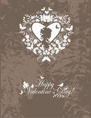 Vintage valentine postkarte — Stockvektor