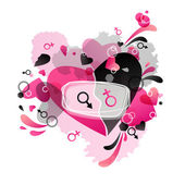 Heart black and pink — Stock Vector