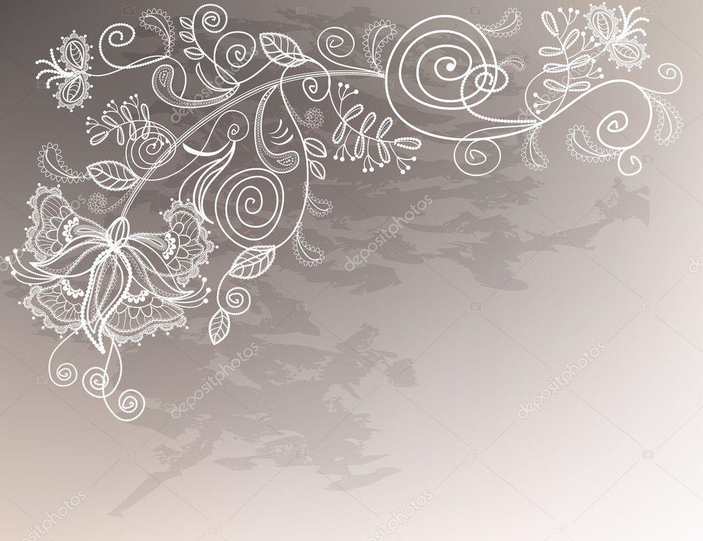 完善的婚礼背景花边装饰白花