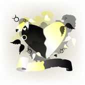 Heart black and white — Stock Vector
