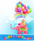 Happy birthday postcard with pink elephant — Stock Vector
