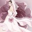 Beautiful young bride — Vector de stock