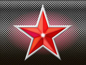 The red star is on a background grid. — Stock Vector
