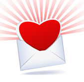 Heart and mailing envelope are on a white background. — Stock Vector