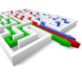 Maze and three arrows. — Stock Vector