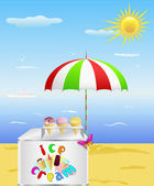 Tray with ice cream is on the beach. — Stock Vector