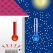 Stock Vector: Heater in house.