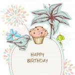 Happy birthday card, cupcake, bird and flowers — Stock Vector