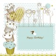 Stok Vektör: Birthday greeting card with cupcakes