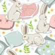Cute rabbits go to sleep, seamless pattern for children - Stock Vector