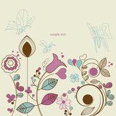 Floral garden with butterflies — Stock Vector