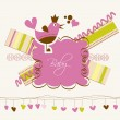 Stock Vector: Cute baby arrival card