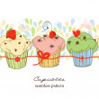 Cute fruit cupcakes seamless pattern — Stock Vector