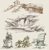 Park or garden design elements sketch — Stock Vector