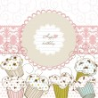 Royalty-Free Stock Vectorafbeeldingen: Cupcakes background lace frame