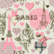 Paris seamless pattern — Stockvektor