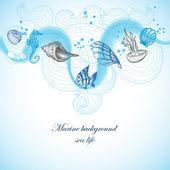 Fond de la mer, de la faune marine des éléments dessinés à la main — Vecteur