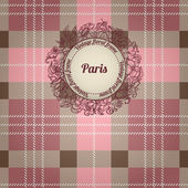 Vintage Paris background, album cover with floral label — Stock Vector