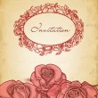 Vintage roses background and floral frame for text — Stock Vector