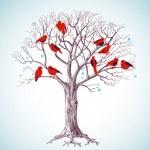 Winter tree with birds — Stock Vector #8034625