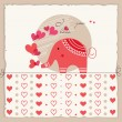 Cute elephant in love — Stock Vector